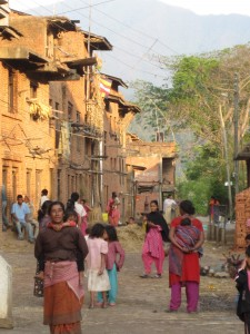 Newari village at dusk