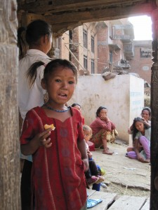 Newari girl with my audience in the background