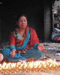 Woman celebrating in the Laghenkel area of Kathmandu