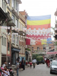 The flags hung in honor of Buddha's Birthday in Patan, Kathmandu